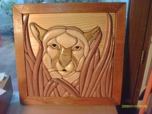 Lion intarsia