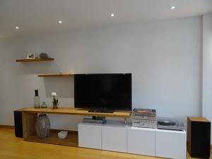 Meuble TV en chêne et stratifié blanc laqué