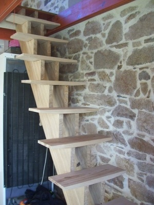 Escalier droit double limon central