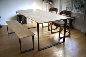 Table et banc en Chêne et Acier