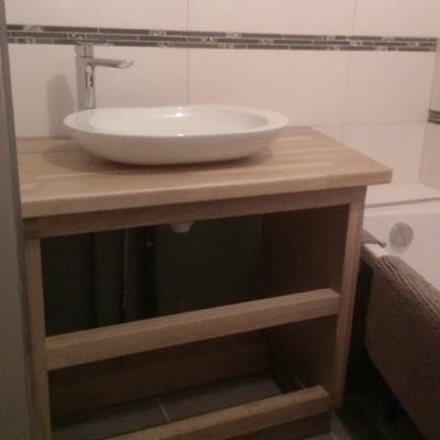 meuble salle de bains ch ne et panneau acrylique par peco sur l 39 air du bois. Black Bedroom Furniture Sets. Home Design Ideas