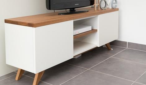 Comptoir et meuble t l par atelier bois couleur sur l 39 air for Comptoir du meuble delson