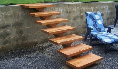 Petit escalier de jardin par aurep sur l 39 air du bois for Petit escalier en bois