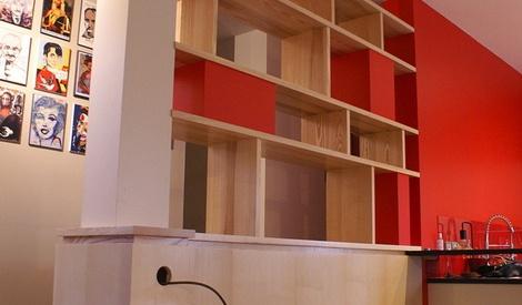 cloison biblioth que et rangements par zeloko sur l 39 air du bois. Black Bedroom Furniture Sets. Home Design Ideas