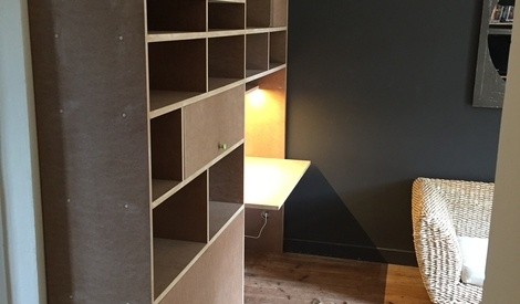 biblioth que avec bureau int gr par gboidin sur l 39 air du bois. Black Bedroom Furniture Sets. Home Design Ideas