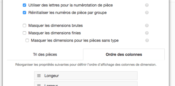 OpenCutList 1.2.3 : Ordre de colonnes de dimension