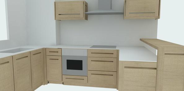 Fabrication d'une cuisine contemporaine chêne et stratifié compact