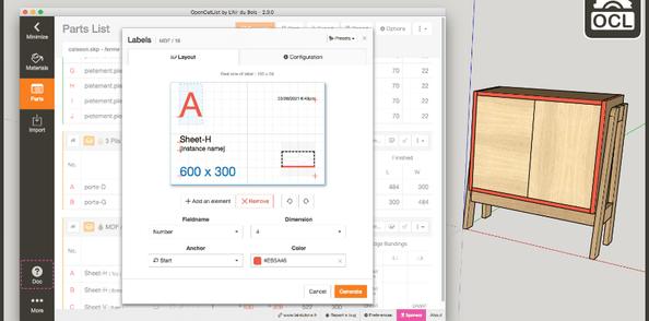 OpenCutList 2.0.0 : Imprimer des Etiquettes et des Rapports