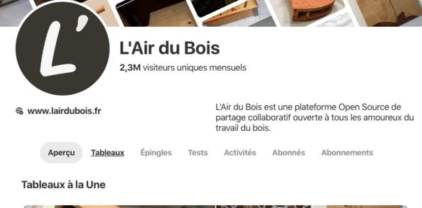 Quelques statistiques de L'Air du Bois sur Pinterest
