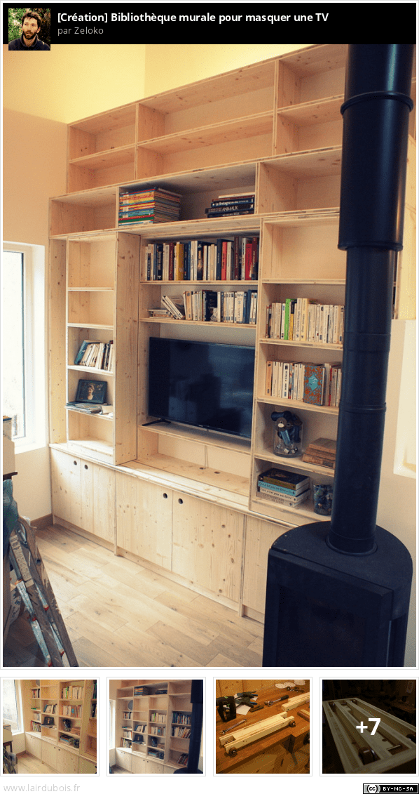 biblioth que murale pour masquer une tv. Black Bedroom Furniture Sets. Home Design Ideas