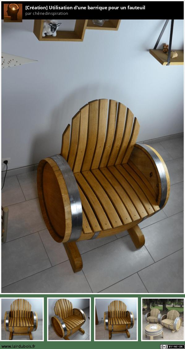 fauteuil sur la base d'une barrique Sticker