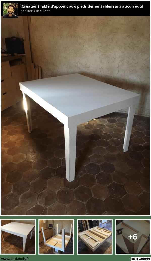 Table d'appoint aux pieds démontables sans aucun outil Sticker