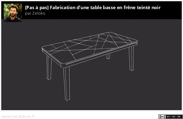 fabrication d 39 une table basse en fr ne teint noir copain des copeaux. Black Bedroom Furniture Sets. Home Design Ideas