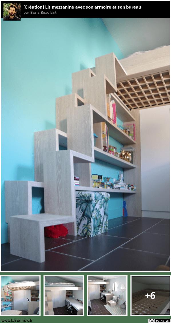 Lit mezzanine avec son armoire et son bureau Sticker