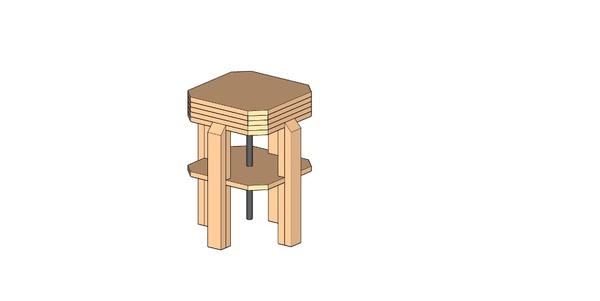 Tabouret réglable octogonal