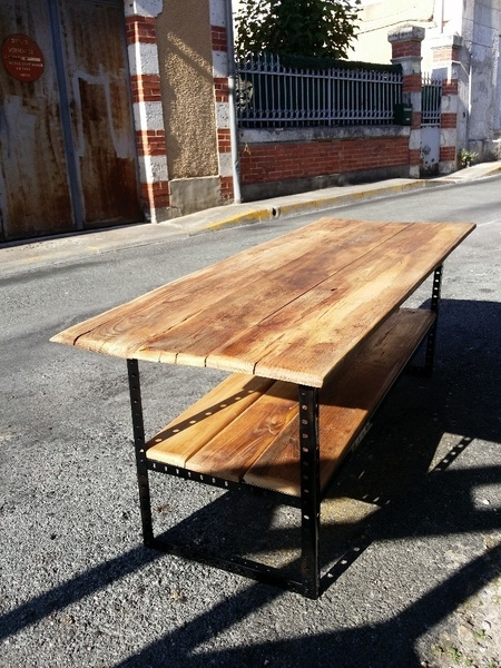 Table basse : Bois et métal
