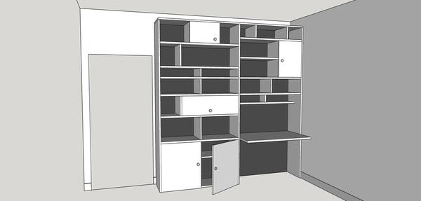 plan biblioth que avec bureau int gr par gboidin sur l 39 air du bois. Black Bedroom Furniture Sets. Home Design Ideas