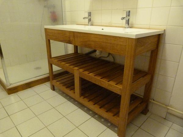 Meuble vasque en chêne
