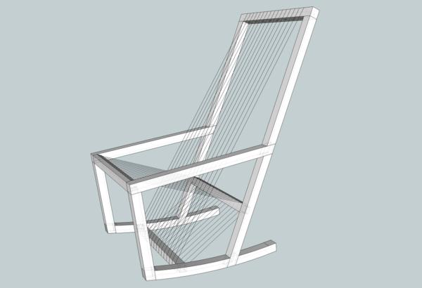 Fauteuil à bascule avec assise en cordelette #2
