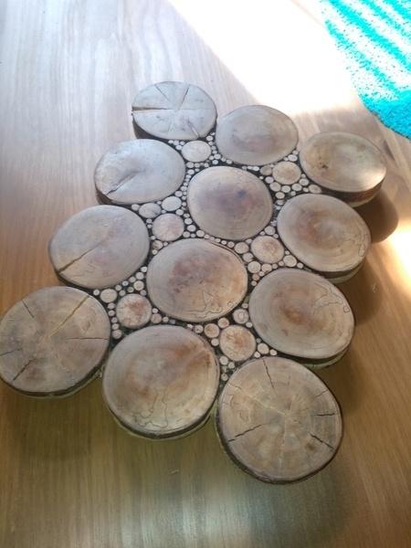 dessous de plat en rondelles par woodandcrafts sur l 39 air. Black Bedroom Furniture Sets. Home Design Ideas
