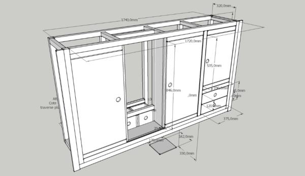Plan meuble de salle de bain par mokozore sur l 39 air du bois - Meuble salle de bain porte coulissante ...