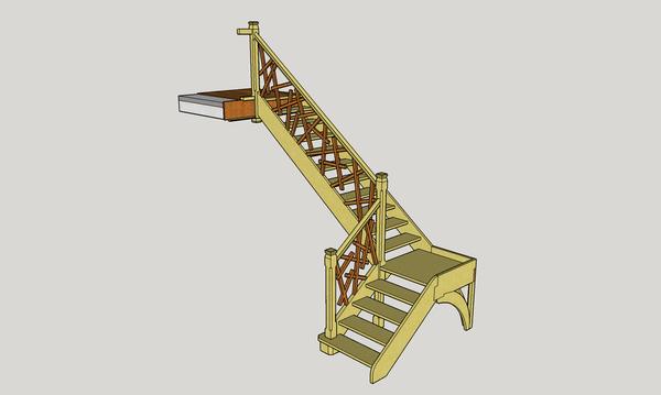Plan d étude escalier droit a 2 volées