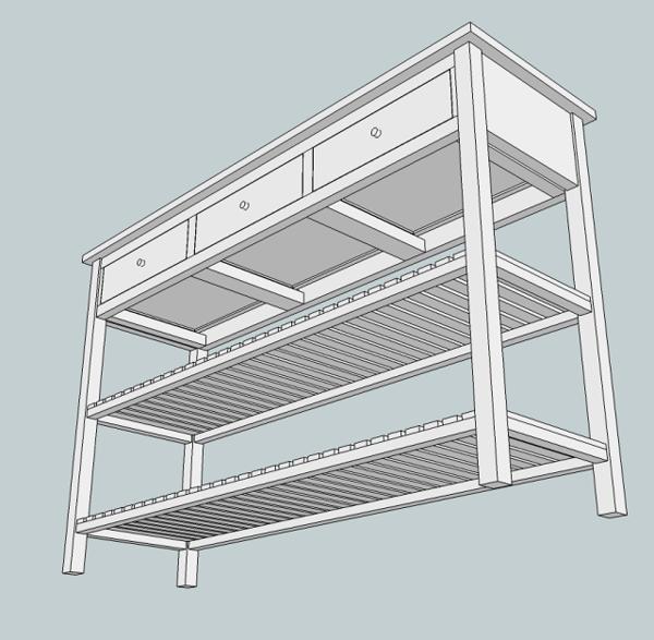 Console trois tiroirs