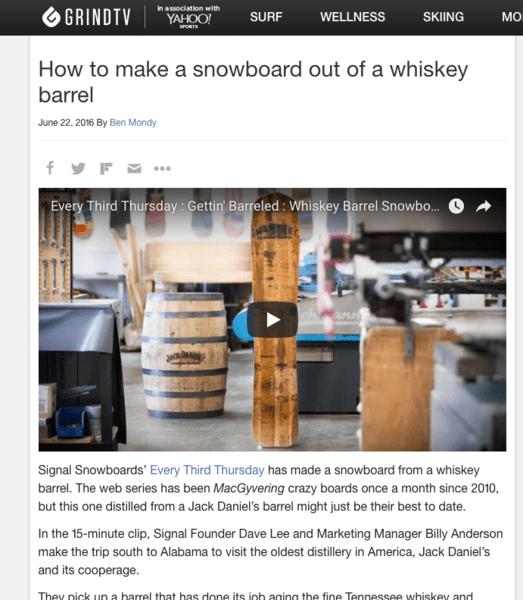 Un snowboard fait à partir d'un tonneau de whiskey!