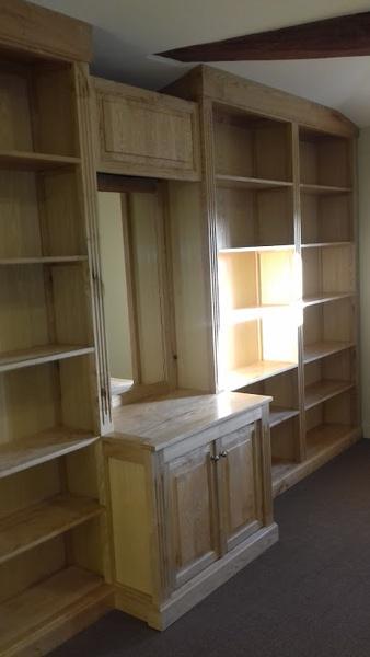 Bibliothèque salle de réunion , frêne et châtaignier